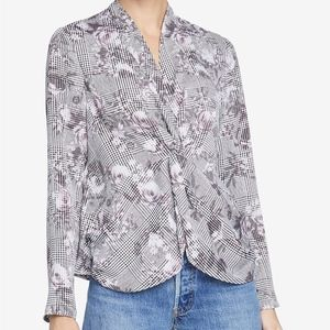 NWT Rachel Roy Twisted Faux Silk Top Grey Combo